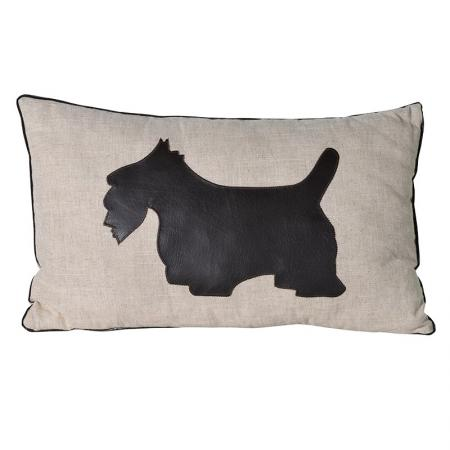 Cream / Faux Leather Scottie Dog Cushion