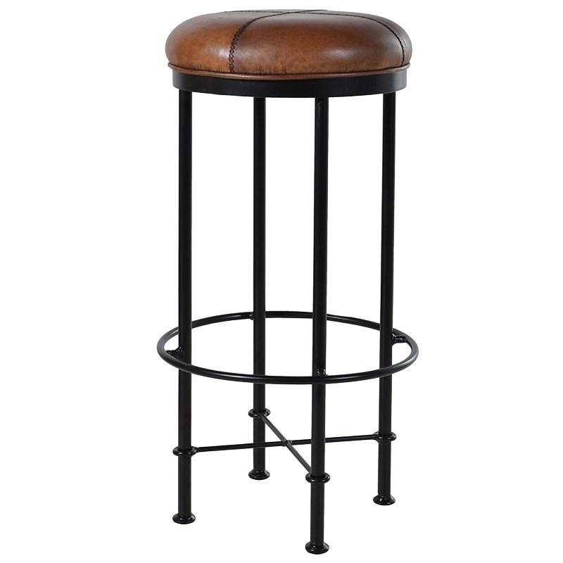 Light Brown Leather Metal Bar Stool Mulberry Moon