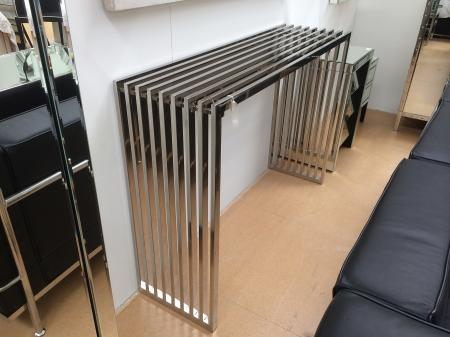 Polished Metal Parallel Slat Console Table