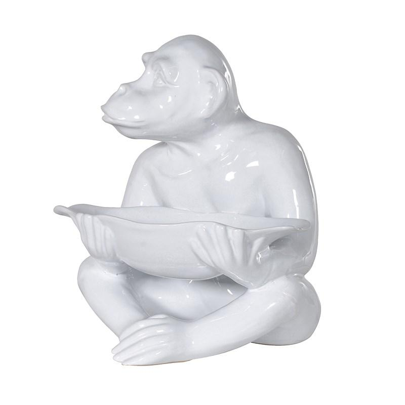 White Ceramic Monkey With Nibbles Bowl : Mulberry Moon