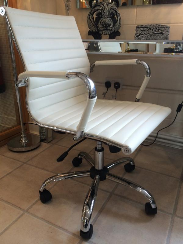 leather office chair. Eames Style Cream Faux Leather Office Chair