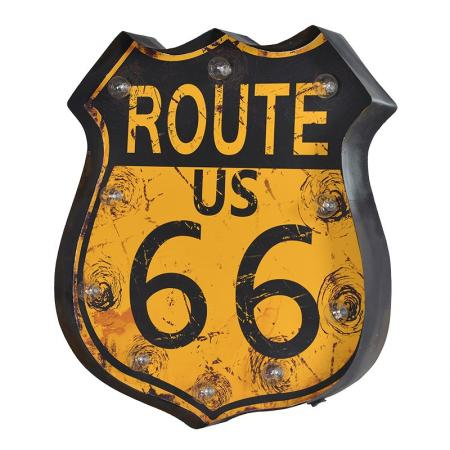 Metal USA 'Route 66' Wall Plaque Light