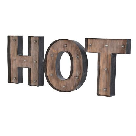 Metal & Wood 'H O T' Light up Letters