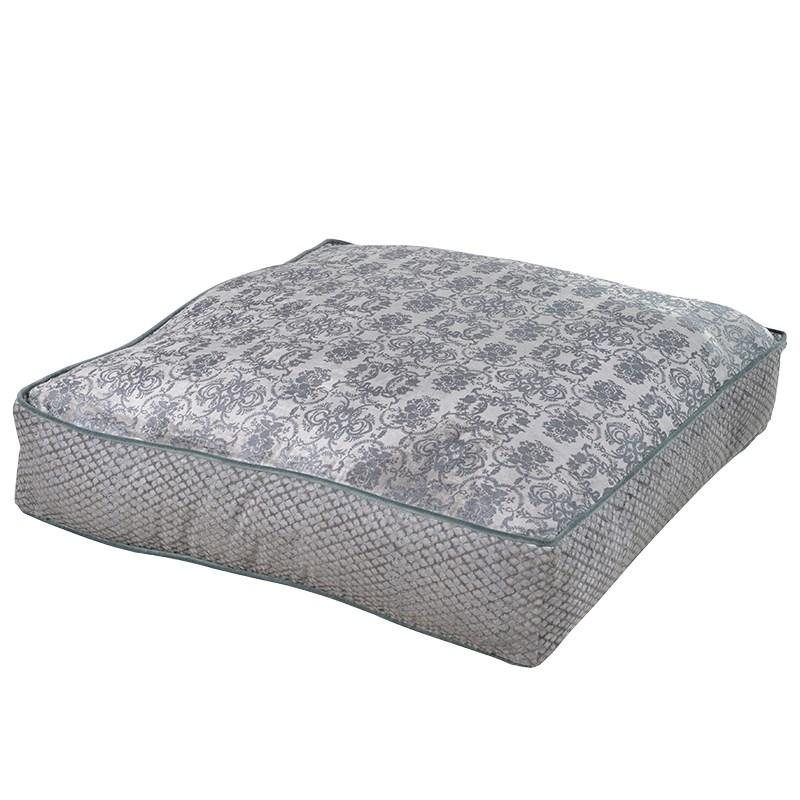 Large Silver Grey Damask Floor Cushion Mulberry Moon