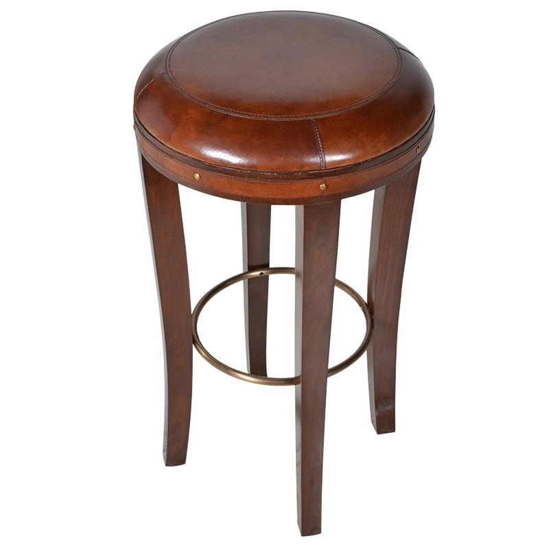 Brown Round Leather Bar Stool  sc 1 st  Mulberry Moon & Brown Round Leather Bar Stool | Mulberry Moon islam-shia.org