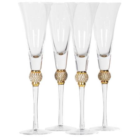 Set Of 4 Gold Crystal Ball Champagne Glasses
