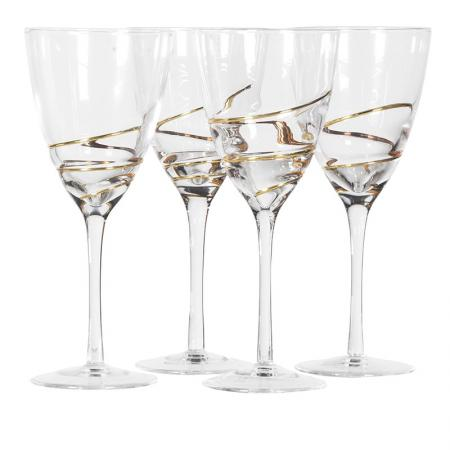 Set Of 4 Gold Swirl White Wine Glasses