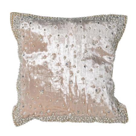 Cream Velvet Style Beaded Pearl Cushion Cover