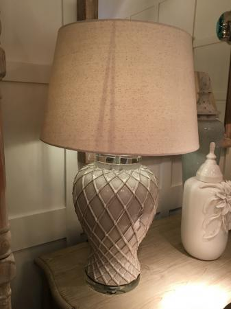 Ceramic Diamond Pattern Lamp With Shade