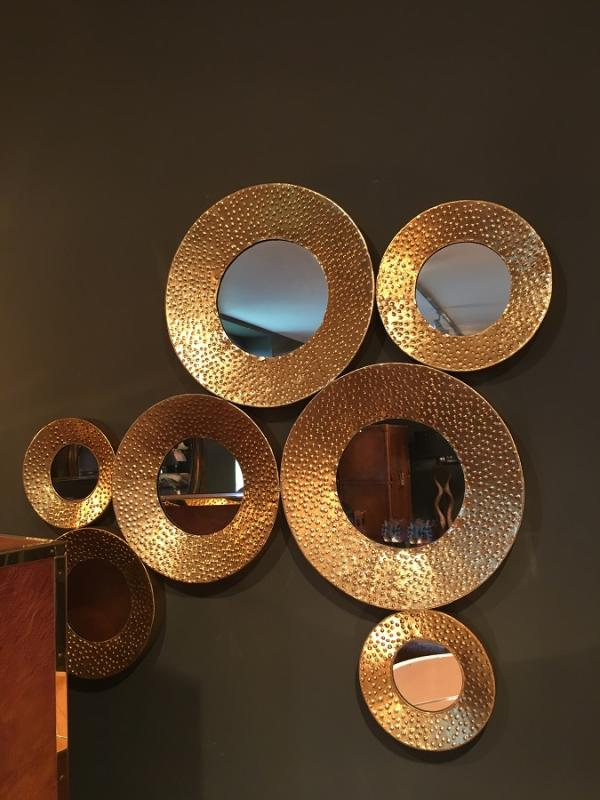 Gold Metal Circle Mirror Wall Art / Sculpture : Mulberry Moon