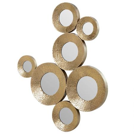 Gold Metal Circle Mirror Wall Art / Sculpture
