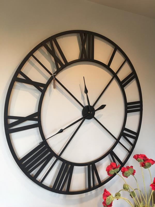 Attractive Large Black Kitchen Clock Part - 13: Large Black Metal Outline Skeleton Wall Clock