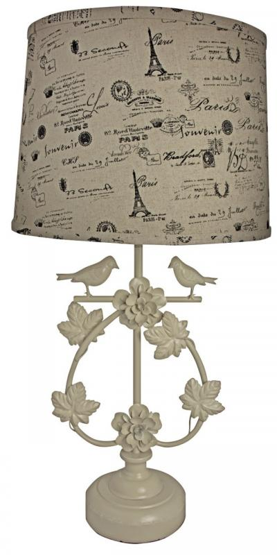 Tall Elegant Cream French Script U0026 Bird Table Lamp