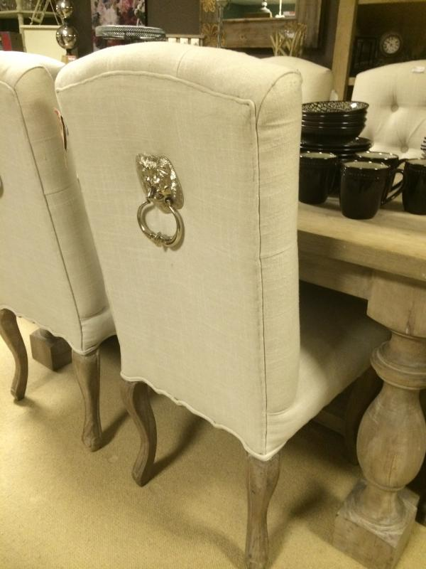 2x Cream Fabric Silver Lion Knocker Dining Chairs