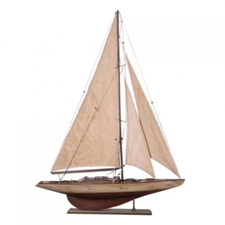 Antique Cream Sailing Yacht Sculpture