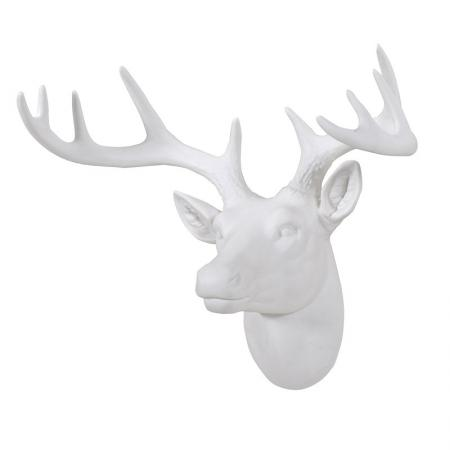 White Stag's Head Wall Decoration / Wall Sculpture