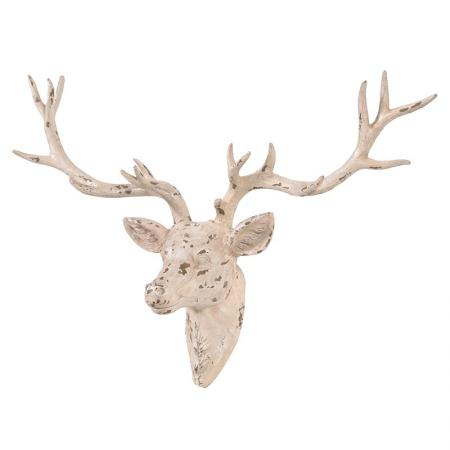 Cream Distressed Deer Head Ornament / Wall Sculpture