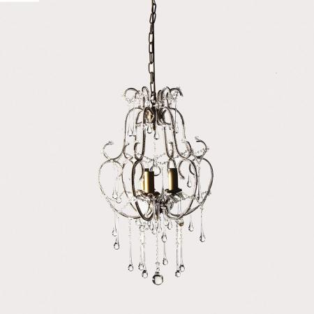 French Style Metal & Glass Teardrops Chandelier
