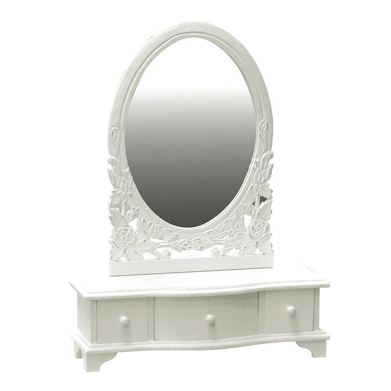 White Wooden Shabby Chic Vanity Mirror Drawers