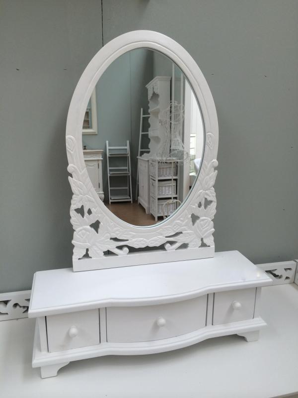 White Wooden Shabby Chic Vanity Mirror Amp Drawers