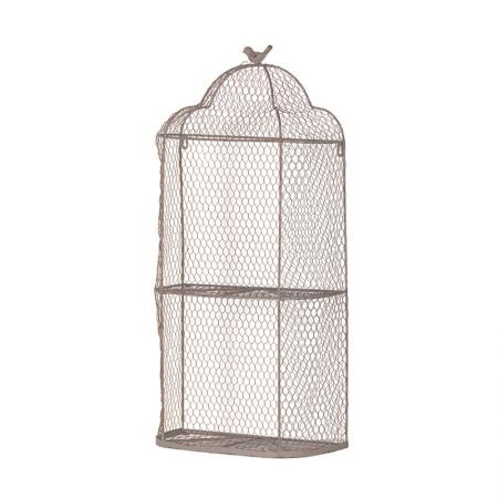 Rustic Metal Shabby Chic Wire Birdcage Shelf Unit