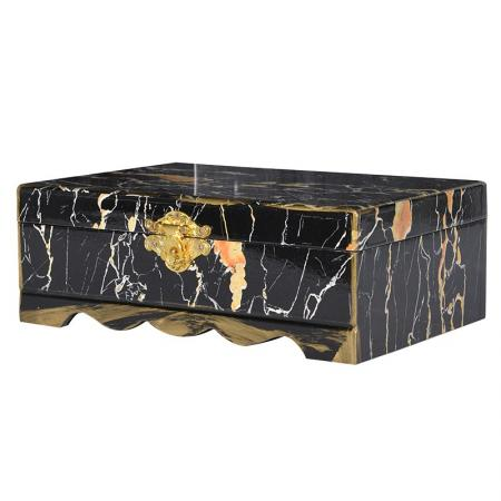 Heavy Lidded Black Marble Storage / Jewellery Box