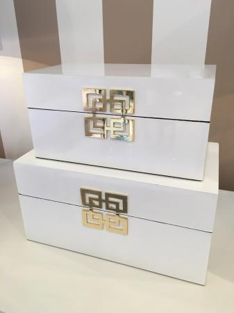 Set Of 2 White & Gold Boxes  Storage / Jewellery Box