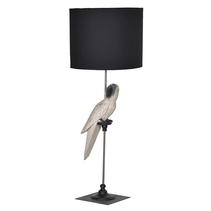 Tall White Wood Parrot Lamp With Black Shade