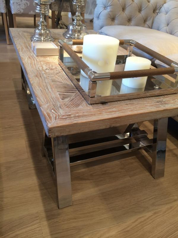 Contemporary Recycled Wood Elm Chrome Coffee Table Mulberry Moon