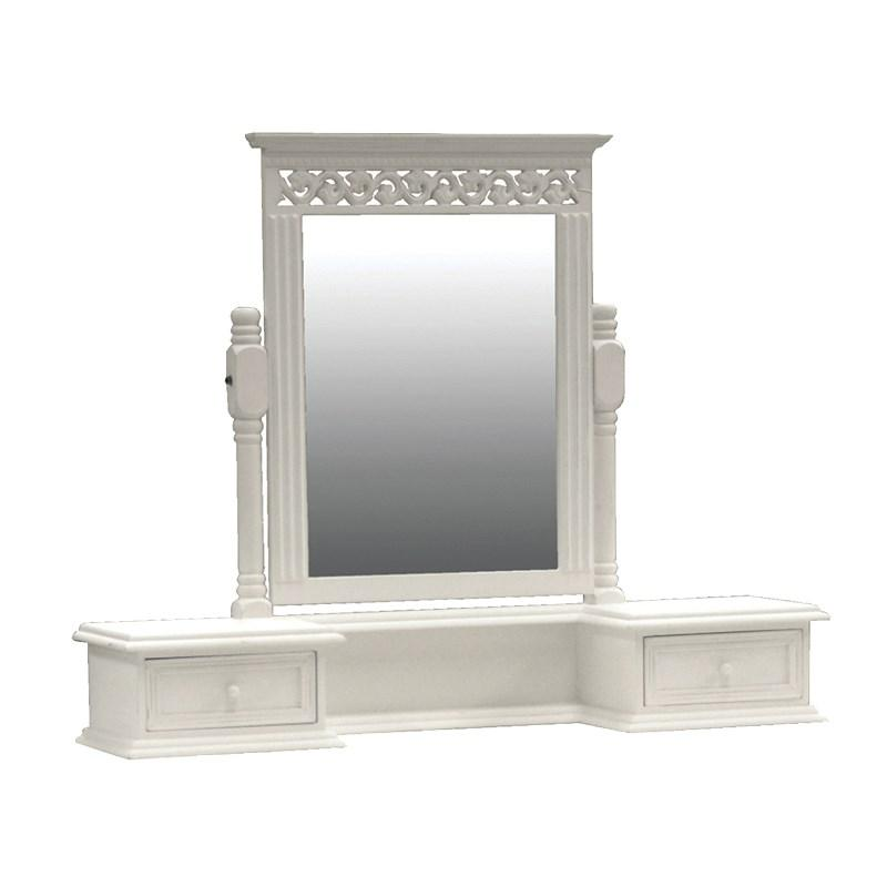 White Belgravia Wooden Shabby Chic Vanity Mirror Drawers