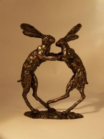 Paul Jenkins Medium Boxing Hares Sculpture / Frith Sculptures