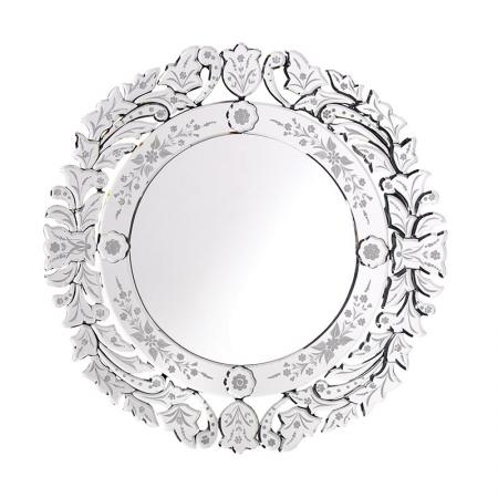 Floral Etched Round Venetian Glass Wall Mirror