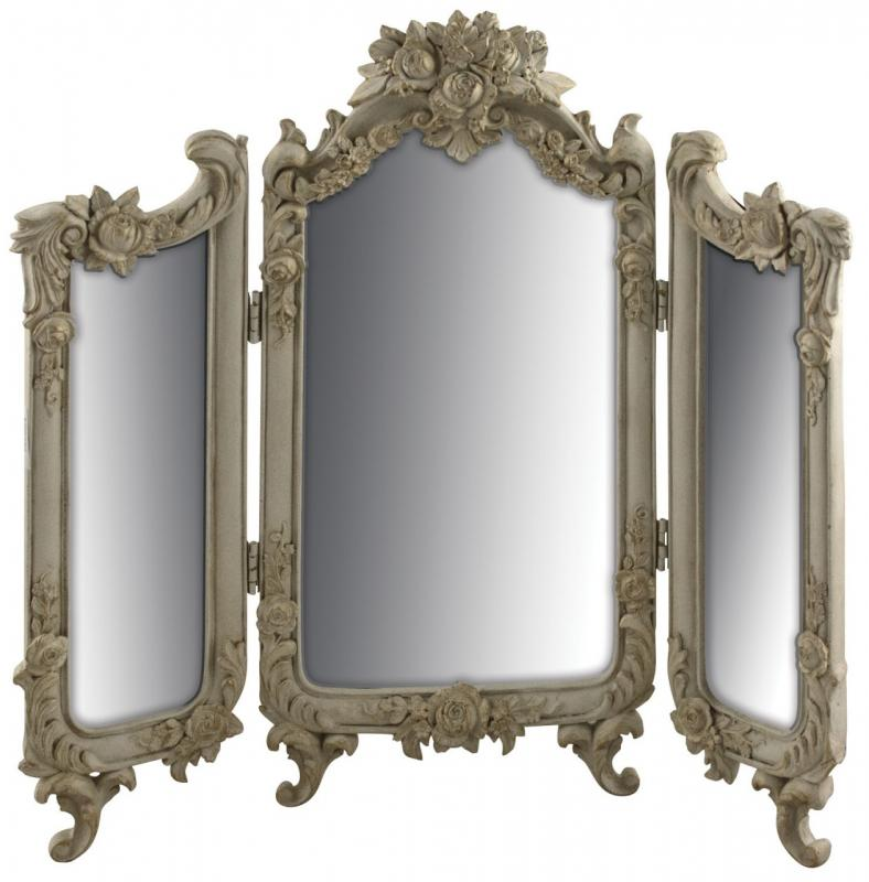 Vintage bathroom mirrors sale - Antiqued Cream Ornate Vintage Dressing Table Mirror