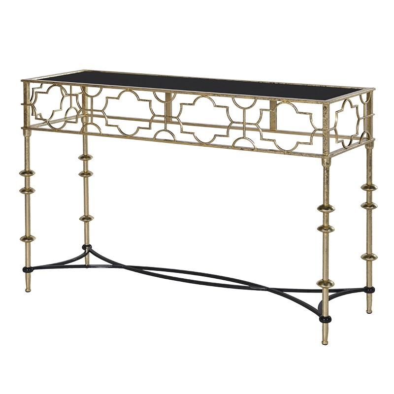 black & gold contemporary cut-out metal console table | mulberry moon