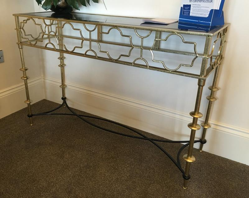 Black Amp Gold Contemporary Cut Out Metal Console Table