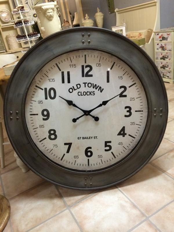 Large Vintage Grey Metal Old Town Wall Clock Mulberry Moon