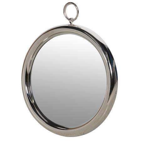 Chunky Framed Round Nickel Wall Mirror & Ring