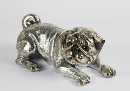 Silver Pug Pup Dog Statue Sculpture
