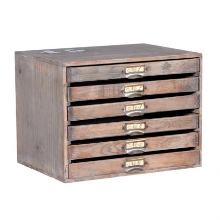 Antiqued Small 6 Drawer Envelope Drawers / Chest