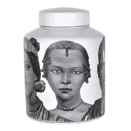 White Ceramic Faces Jar / Cannister