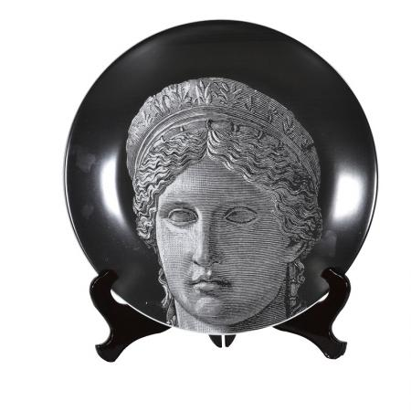 Black Ceramic Grecian Face Plate