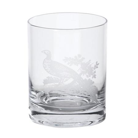Set Of 4 Pheasant Glass Tumblers