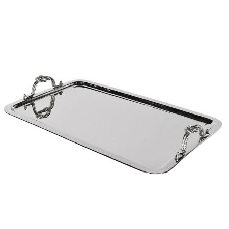Contemporary Nickel Rope Handle Tray