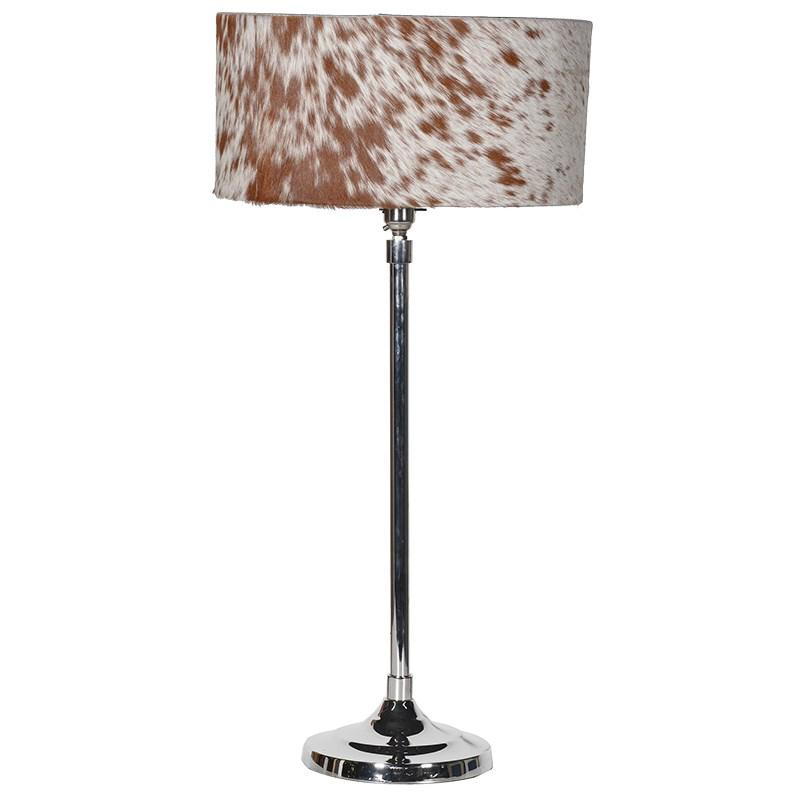 Large chrome table lamp hide drum shade mulberry moon for Wide drum lamp shade