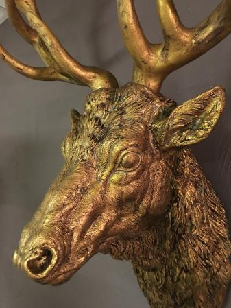 Huge Antique Gold Stag Head Wall Sculpture