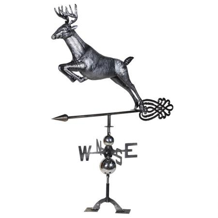 Antiqued Metal Stag Roof Mounted Weather Vane