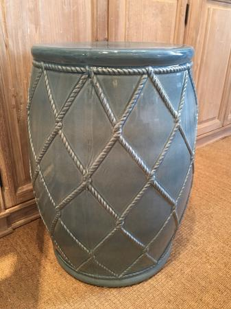 Contemporary Ceramic Blue Drum Stool
