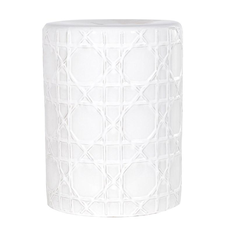 Contemporary Ceramic White Drum Stool / Side Table