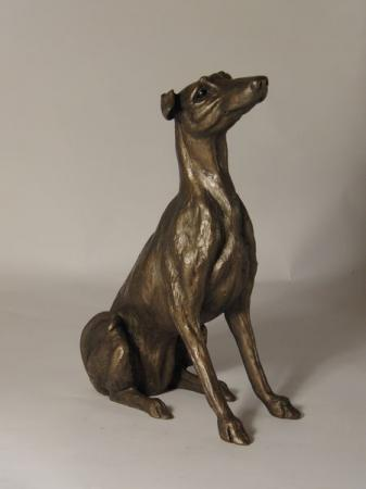 Leo - Lurcher Bronze Sculpture by Harriet Dunn