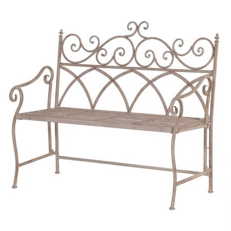 Rustic Ornate Scrolled Folding Metal Garden Bench